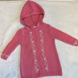 Camilla 2T Long Hooded Sweater w Floral Embroidery